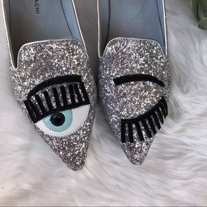 Metallic glittery pointy loafers